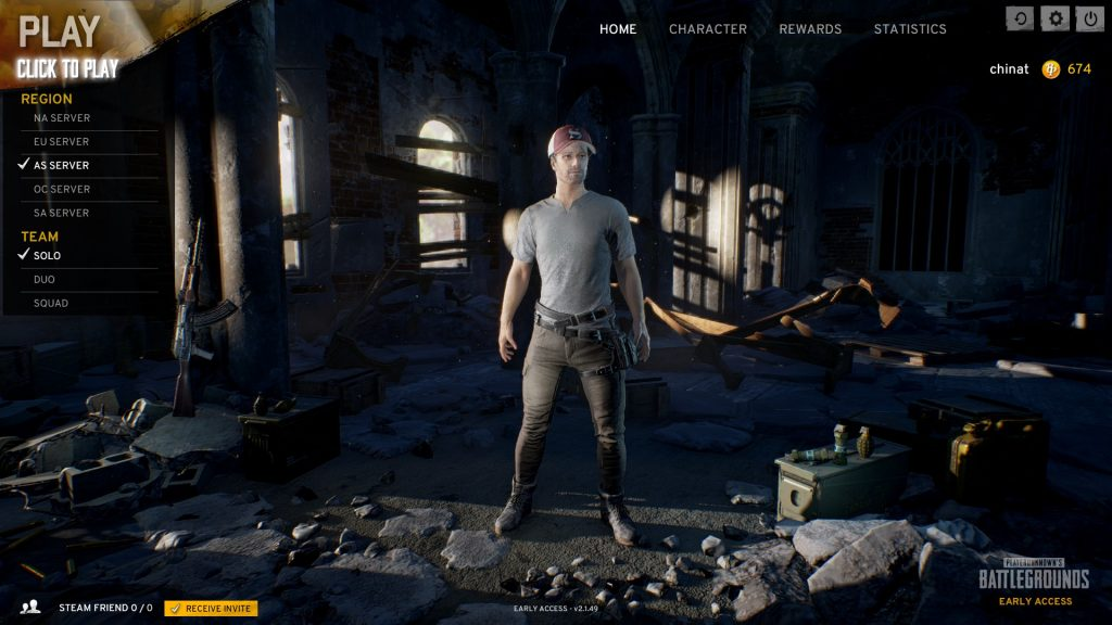 PlayerUnknown's Battlegrounds(PUBG)タイトル画面