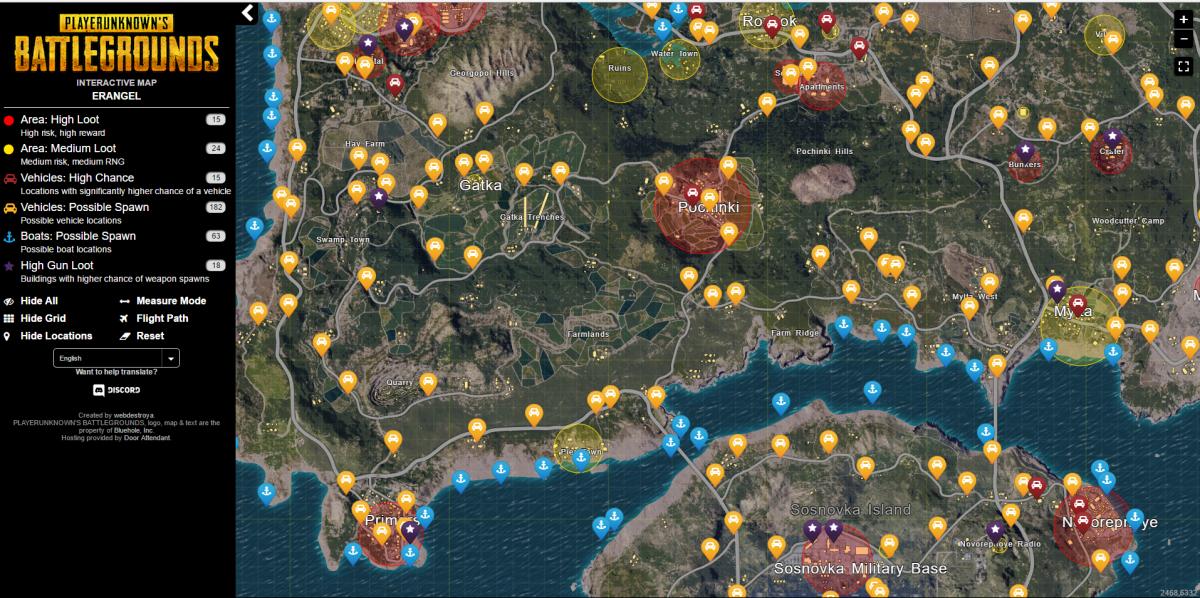PUBGインタラクティブマップ