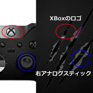 XBoxのロゴとアナログスティックが見えます