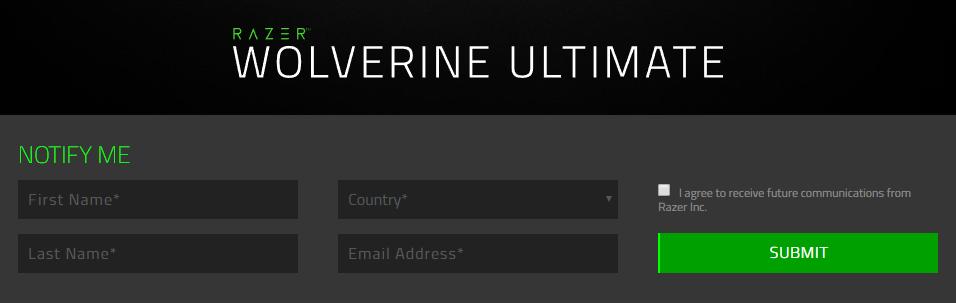 Razer Wolverine Ultimateの販売開始を知らせてくれるメール登録