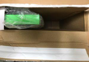 箱を開けてすぐの状態。隙間がガバガバ。「RAZER ERGONOMIC KEYBOARD REST」