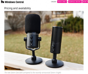 Razer Seiren EliteとSeiren Xのサイズ比較 「WINDOWS CENTRAL」https://www.windowscentral.com/razer-seiren-elite-announce