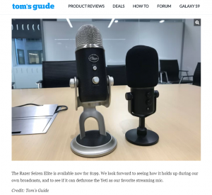 Razer Seiren EliteとBlue社のYetiのサイズ比較「Tom'S Guide」https://www.tomsguide.com/us/razer-seiren-elite-hands-on,news-26537.html