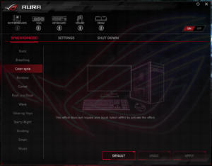 「AURA」で同期するデバイスの選択やライティングの設定ができます