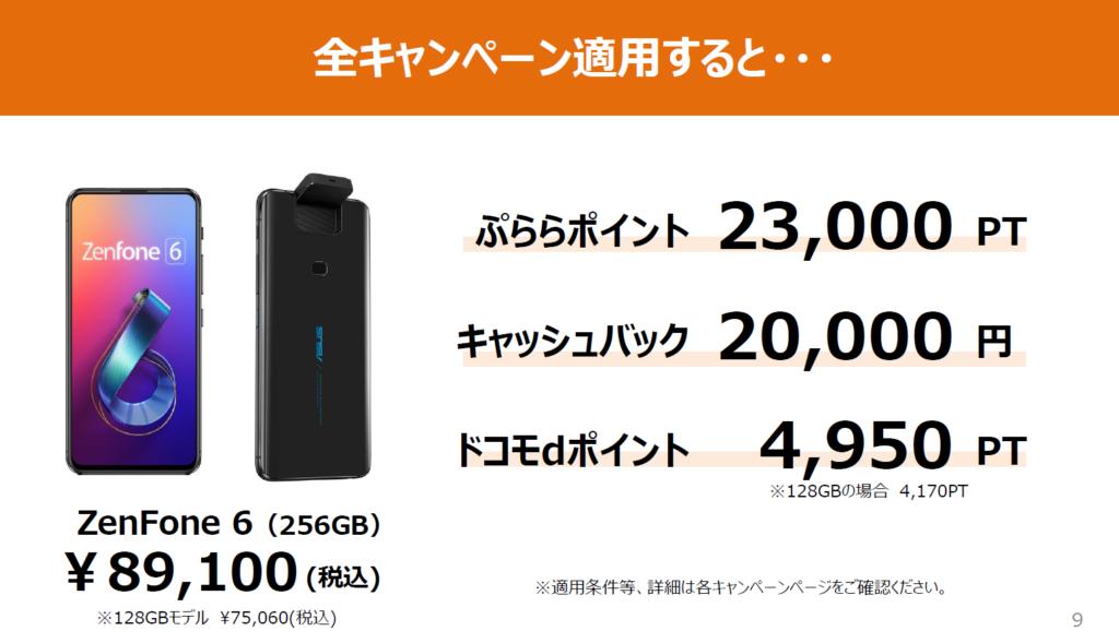 ZenFone 6(256GB)が実質34,550円!!